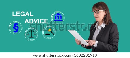 Woman using digital tablet with legal advice concept on background