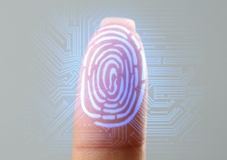 Woman using fingerprint protection for data access on grey background, closeup