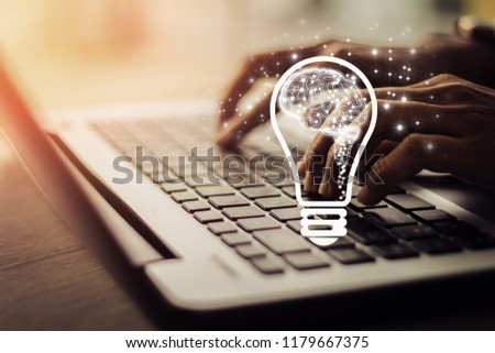 woman using laptop, searching web, browsing information, having workplace at home / creative idea.Concept of idea and innovation