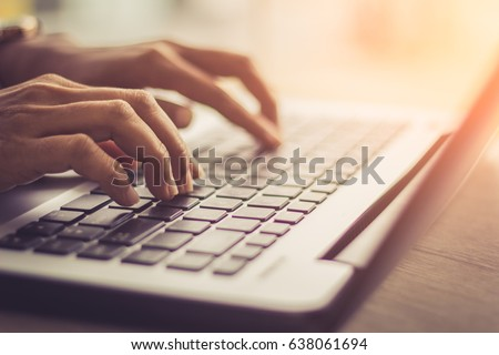 woman using laptop, searching web, browsing information, having workplace at home  / soft focus picture / Vintage concept  #638061694