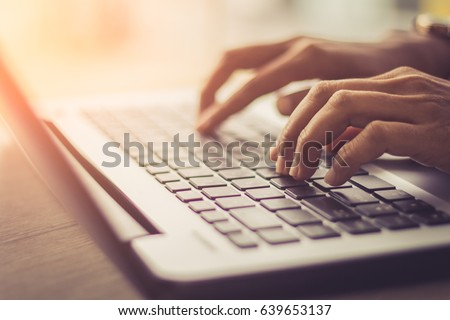woman using laptop, searching web, browsing information, having workplace at home  / soft focus picture / Vintage concept  #639653137