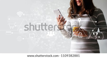 Woman using mobile payments online shopping and icon customer network connection. Digital marketing, m-banking and omni channel.