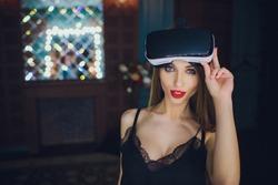 Woman using the virtual reality headset