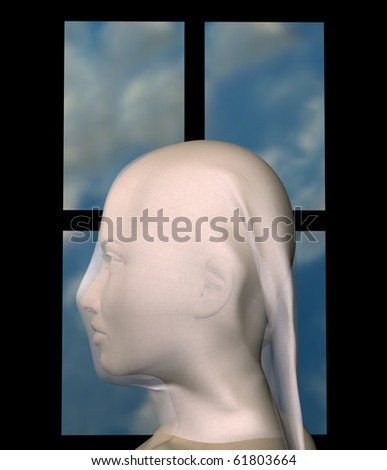 Woman veiled with white cloth against blue sky window frame. 3d illustration.