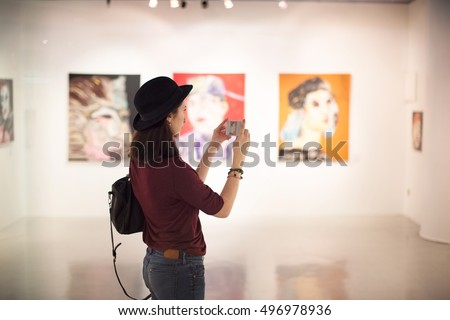 Woman Visiting Art Gallery Lifestyle Concept #496978936