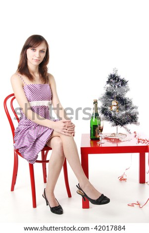 woman waiting for the New Year with champagne - stock photo