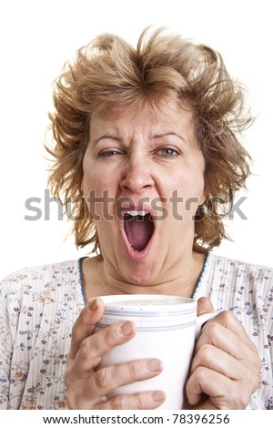 Woman waking up with a coffee (Yawning)