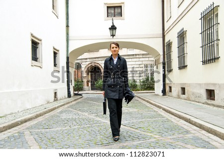Woman walk to the work or job morning
