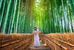 Woman walking at Bamboo Forest in Kyoto, Japan.