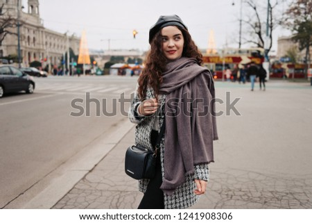 2f41617255f831 Woman walking city street in autumn looking relaxed wearing black beret and  gray coat. # · Close-up of fancy pleasant seventy-year madam ...