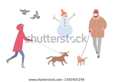 Woman walking dog in winter season activity outdoors raster. Snowman with knitted hat and carrot nose, doves pigeons flying. Person with pet on leash