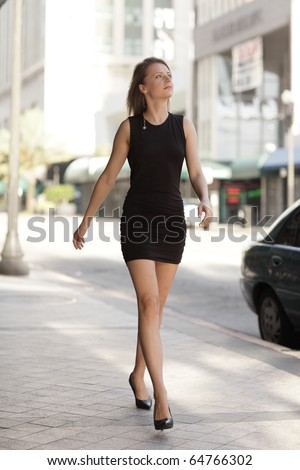 Woman walking down the street