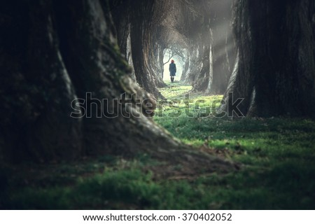 Stock Photo Woman walking in the mystic magic deep forest