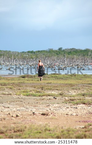 Woman walking into the wetlands alone.