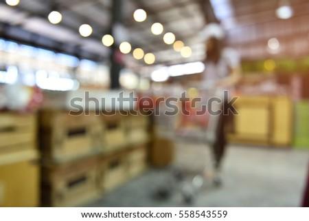 Woman Walking Shopping carts at supermarkets Gate,abstract blur