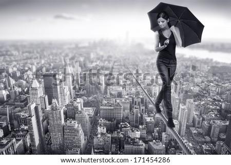 woman walks over manhattan