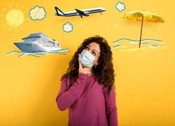 Woman want to travel but is worried about codiv-19 pandemic. yellow background