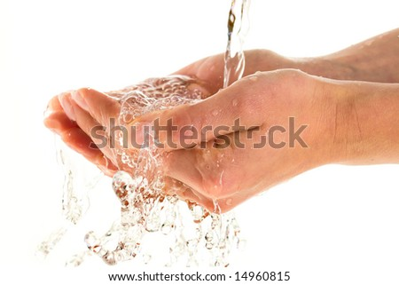 Woman washing hands isolated over white background
