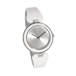 Woman watch, silver and white color, white bracelet
