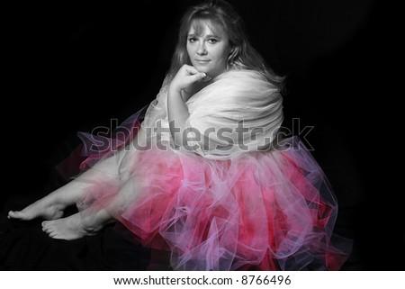woman wearing a colorful dance tutu