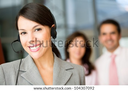 Woman wearing a headset working at customer support