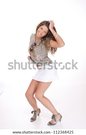 Woman wearing a mini skirt isolated on white - stock photo