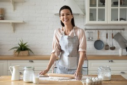 Woman wearing apron smiling looking at camera standing in kitchen preparing for family dinner holding rolling pin flattening dough eggs flour milk on wooden table, housewife chores or hobby concept