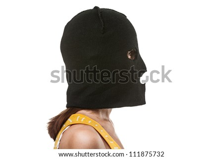 woman wearing balaclava or mask on head white isolated