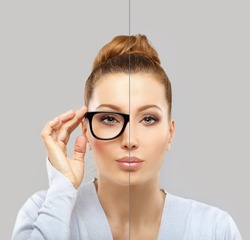 Woman wearing black glasses and  without glasses