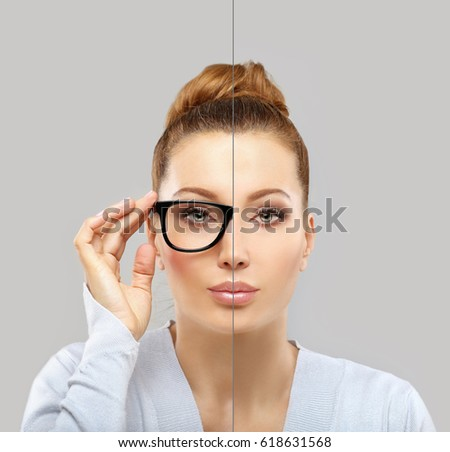 Woman wearing black glasses and  without glasses #618631568