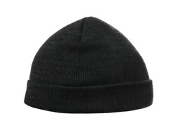 Woman wearing black knitted hat on white background, closeup. Winter sports clothes