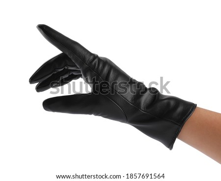 Woman wearing black leather glove on white background, closeup Stock photo ©