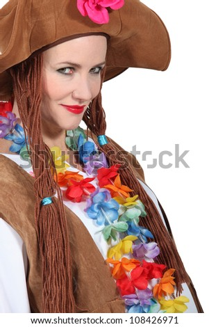 Woman wearing brown hat and wig with flowers around neck