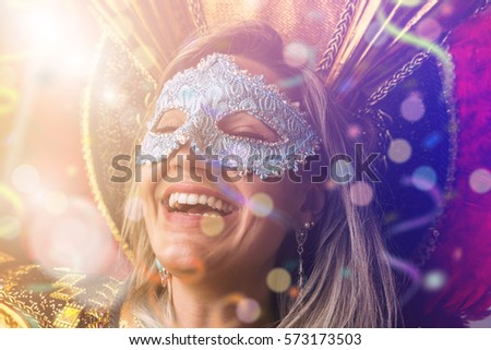 Woman wearing carnival costume #573173503