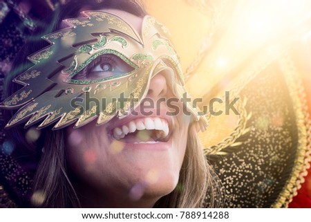 Woman wearing carnival costume #788914288