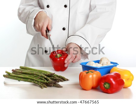 woman wearing chef cook uniform, white background