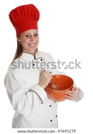 woman wearing chef cook uniform with red hat