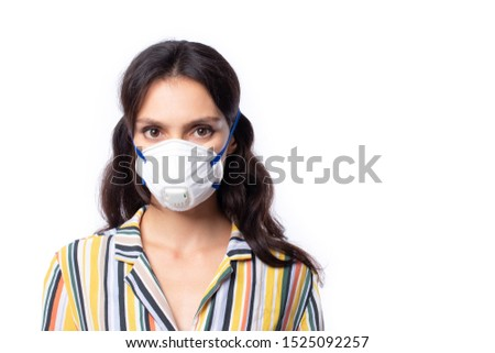 Woman wearing face mask protect filter pm2.5 anti pollution, anti smog and viruses. Air pollution, environmental concept isolated on white background.