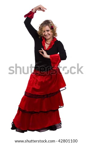 Woman wearing fancy dress on Halloween. Dancers in national Spanish costumes. Beautiful spanish dancer on white background.