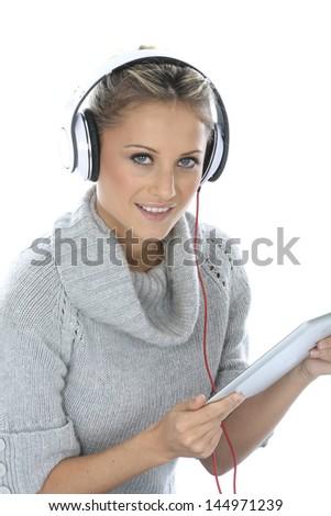 Stock Photo Woman Wearing Headphones
