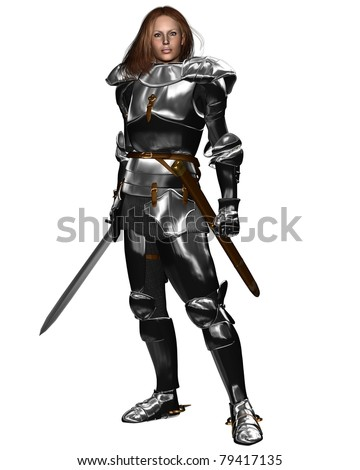 Woman wearing Medieval or Fantasy armor and holding a sword, 3d digitally rendered illustration