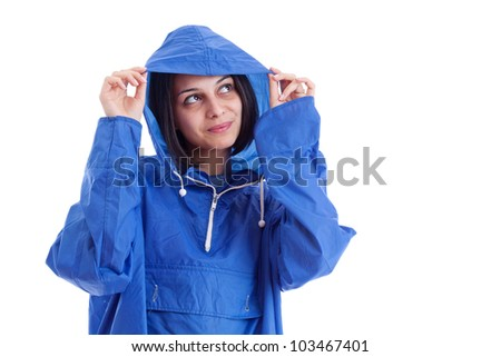 Woman wearing raincoat, isolated on white