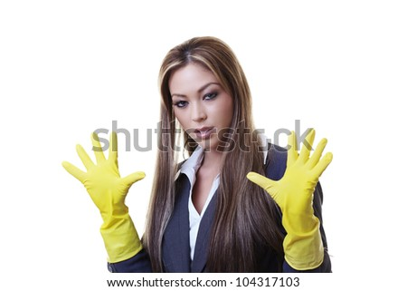 Gloves women cleaning wearing rubber