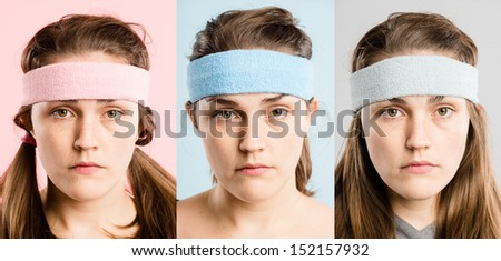 Woman wearing sweatbands Crazy funny faces portrait collection