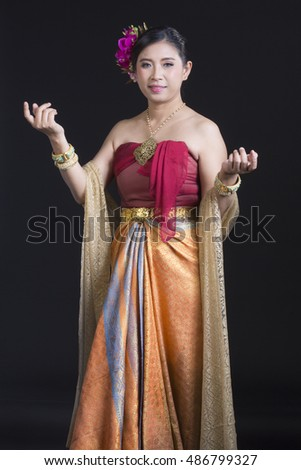 Woman Wearing Typical Thai Dress With Black Background Identity Culture Of Thailand 486799327