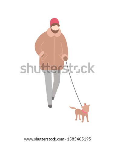 Woman wearing warm winter clothes walking dog on leash raster. Person spending time outdoors with pet, canine with collar running toy canine doggy