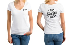 Woman wearing white shirt with custom print on front and back