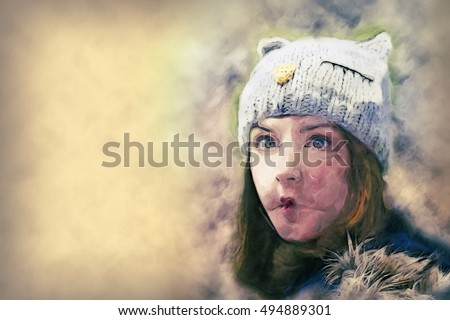 woman wearing winter hat making a funny face ez canvas