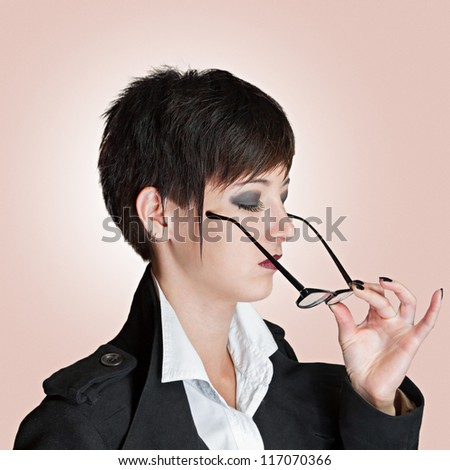 woman wears glasses