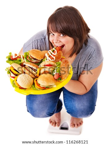 Woman weight loss on scales. Isolated.